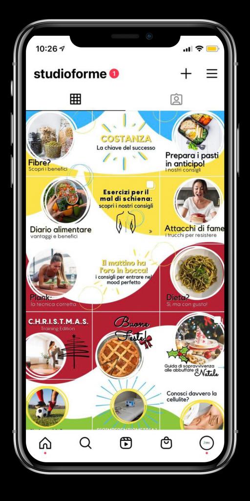 Studio Forme_feed di Instagram con modalità puzzle e mosaico